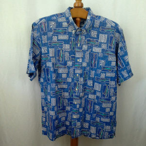 Bluewater Wear mens shirt XL Fish Blue Hawaiian